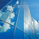 Clouds reflection on a cristal building